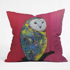 DENY Designs Clara Nilles Owl on Lipstick Decorative Pillow