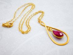 Ruby Gold Pendant Necklace, Ruby Red Pendant, Gold Infinity Pendant, Statement Necklace, Inv112 on Etsy, $118.50