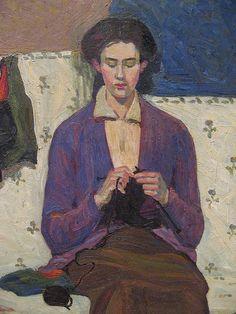The Sock Knitter Painting