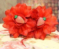 Glitter Strawberry Cake Rockabilly Crystal Flower by FilthyCoffin, $7.00  tarina tarantino sweet lolita free shipping