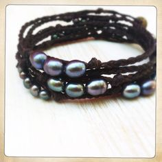 Peacock pearls with dark chocolate cord wrap bracelet or necklace