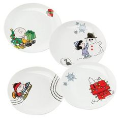 Amazon.com: PEANUTS Christmas Holiday Scenes Plate Collection - Ceramic (Set of 4): Kitchen & Dining