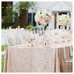 1 DAY Ship Sequin Tablecloths Metallic Overlays. Blush by Jessmy