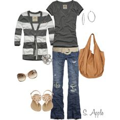 """Charcoal Stripes"" by sapple324 on Polyvore"
