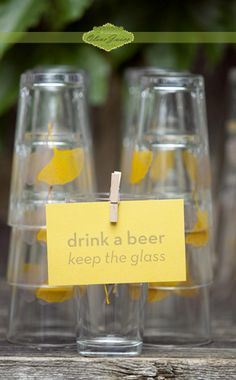 personalized pint glasses as a wedding favor.  LOVE this idea!