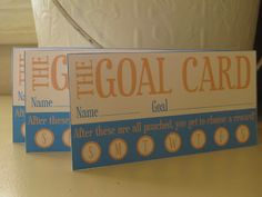 Goal punch cards for kids. Free Printable