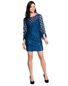 Laundry by Shelli Segal Nite Sky Dot Mesh 3/4 Sleeve Dress