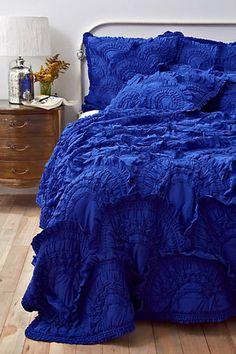 anthro ruffles. cerulean blue, ruffl, cobalt blue room, color blue, electric blue, bedroom, blue bed