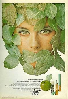 Aziza Vintage Ad from the '60s. I'm so ready to bring Green Apple back! #makeup