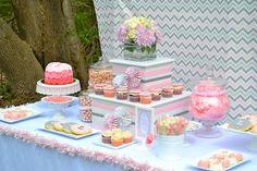 Pretty Chevron Backdrop for Communion Dessert Table Decorations