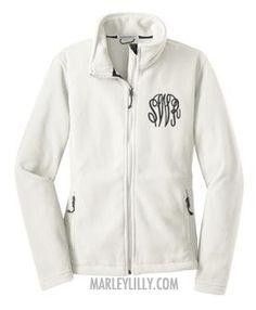 Monogrammed White Fleece Jacket