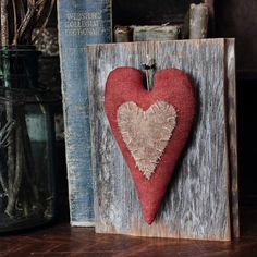 Primitive Valentine Heart Barn Wood Wall Hanging