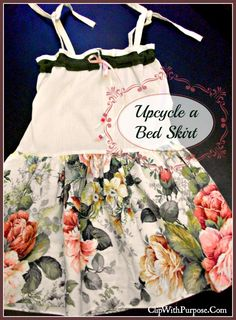 Upcycle a bed skirt into a dress