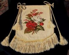 Victorian Needlepoint Banner - Face Saver - Fire Screen - 19th Century - Antiques found on Ruby Lane $365