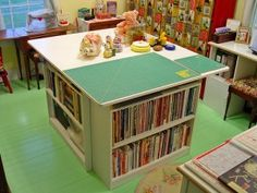 Another sewing room work table idea! :) I like how the work surface extends over the edges of the storage areas.