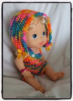 Crochet doll clothes are the perfect crochet gift for little girls. They are also a great project for kids. Baby Alive Bonnet & Romper - Media - Crochet Me
