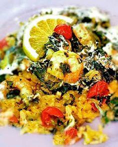 Garlicky Shrimp and Spinach Bake |Gluten-Free Goddess® Recipes