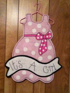 Burlap Door Hanger - It's a Girl (Light Pink). $25.00, via Etsy.