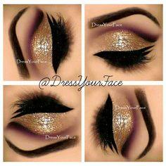 Gold glitter and purple cut crease #eyes #eyeshadow #glitter #eye #makeup