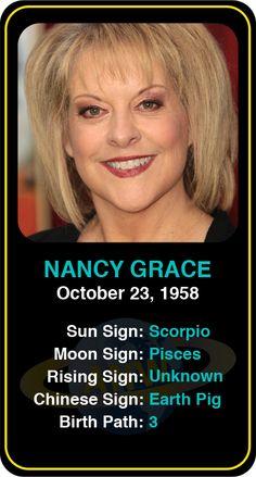 Celeb #Scorpio birthdays: Nancy Grace's   astrology info! Sign up here to see more:  https://www.astroconnects.com/galleries/celeb-birthday-gallery/scorpio   #astrology #horoscope #zodiac #birthchart #natalchart #nancygrace