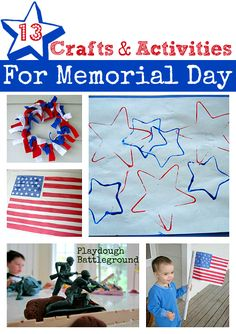 13 Patriotic Crafts For Kids - No Time For Flash Cards. Great ideas for Memorial Day and I could use them for Fourth Too!
