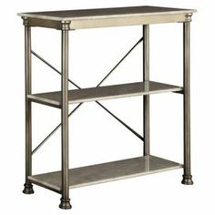 "2-shelf metal bookcase with a marble laminate-finished top and x-crossed back. Product: BookcaseConstruction Material: Metal and marble laminate Color: Marble and chrome Features: Two shelves Dimensions: 39"" H x 38"" W x 16"" D"