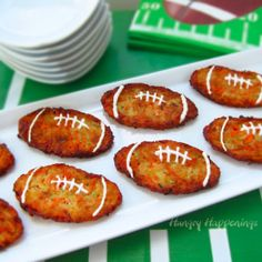 Vegetable Pancake Footballs, Super Bowl Recipes, Super Bowl Football shaped food and appetizers