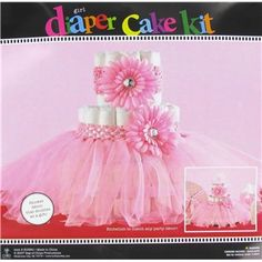 This pink tutu diaper cake decoration makes an adorable baby shower gift.   Shop Hobby Lobby