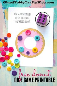 Donut Sprinkles Dice Game - Free Printable - Counting Game - Busy Bag Idea #gluedtomycrafts