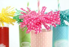 Straw fringes made from cupcake liners.  So clever and festive.