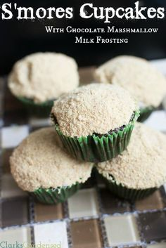 S'mores Cupcakes with whipped chocolate marshmallow milk frosting #cupcakes #cupcakeideas #cupcakerecipes #food #yummy #sweet #delicious #cupcake