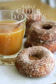 Easy Baked Cider Donuts - only changes were: 1 cup sugar instead of 1.5 cups and Angry Orchard Hard Cider in place of regular cider. Reduced hard cider for less time, maybe 8-10 min. Made 10 doughnuts. Dipped in 1 cup sugar + 1 heaping tsp of cinnamon)