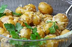 Greek inspired lemon butter potatoes!!  This will be a great change to a pretty boring side dish!  You've GOT to try this!!!  YUMMMY