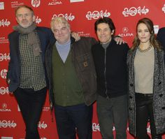 "(Scott Sommerdorf   |  The Salt Lake Tribune)  Director Anton Corbijn, from left, Philip Seymour Hoffman, Willen Dafoe and Rachel McAdams on the red carpet for ""A Most Wanted Man"" at Sundance on Jan. 19, 2014."