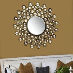 Stratton Home Metallic Circle Wall Mirror