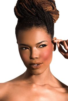 """Make Me Blush"" (makeup by Chenese Bean) #teamChenese #blush.  Locs updo"