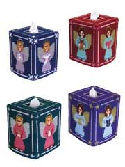 Angel Tissue Toppers Pattern from AnniesCatalog.com -- Four jewel-toned angels make a perfect holiday accent for your home or office.