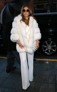 All white..LoVe it!! White fox jacket