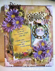 Gorgeous Garden canvas by Kathy Clement, Crafty Secrets DT Leader using their Digital Garden Papers Kit.  She has bunch of photos and details including how she made the Aster flowers