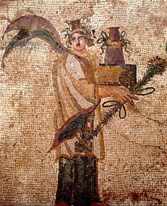 Woman with a box of secrets (mosaic) Creator Roman, (3rd century AD) Description Paphos, Cyprus, a female with a box of secrets, detail from 3rd century AD Roman floor mosaic, the Triumph of Dionysus mosaic in the House of Dionysus