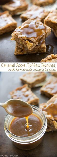 Caramel Apple Toffee Blondies with homemade caramel sauce