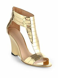 Sigerson Morrison Ruby Gold Metallic Leather Wedge Sandal