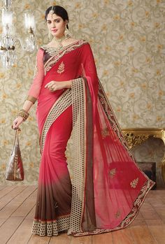 Smashing Red and Brown Saree