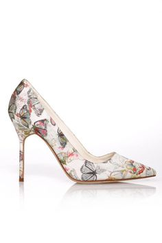 Manolo Blahnik Butterfly print satin pumps $730