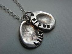 Fingerprint Jewelry Silver Personalized Mommy Charm for Necklace - Gift for Mom from Kid Mother's Day. $55.00, via Etsy.