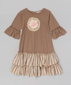 Love this Brown Ruffle Swing Dress - Infant, Toddler & Girls by Victoria Kids on #zulily! #zulilyfinds