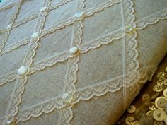 Burlap and lace bulletin board