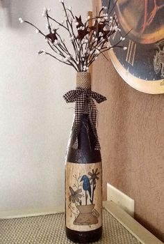 Primitive DIY wine bottle