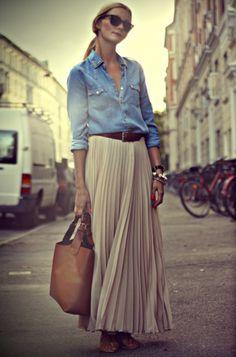 denim chambray shirt + pleated maxi skirt (Olivia Palermo)