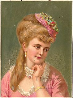 Beautiful Blonde Victorian Woman in Pink Antique French Chromo Illustration